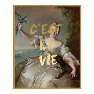 C'est La Vie by Lara Fowler in Gold Framed Paper, Small Art Print For Sale