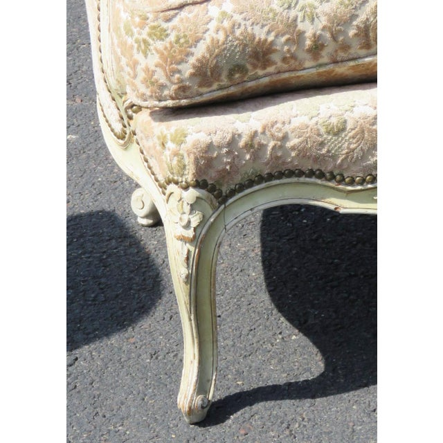 Louis XVI Style Distressed Cream Painted Bergere Chairs - A Pair For Sale - Image 4 of 5