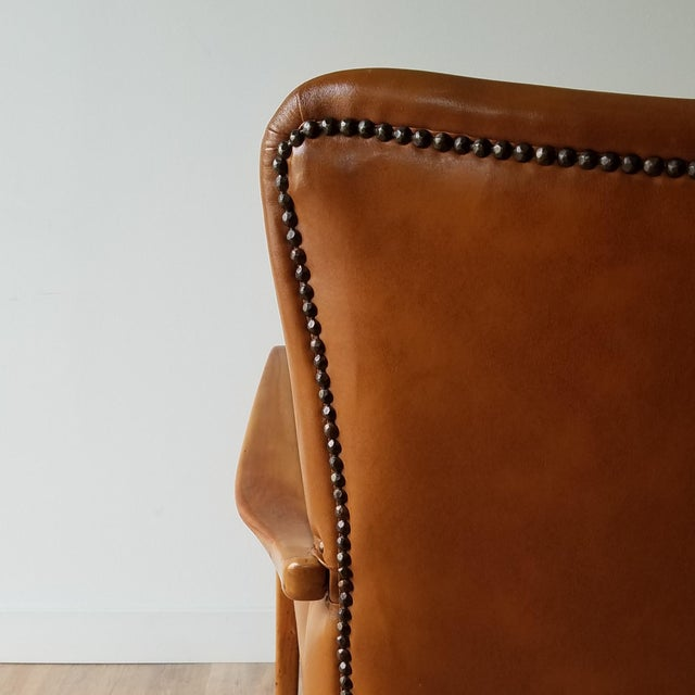 Metal Mid 20th Century Italian Mid-Century Modern Leather Lounge Chairs With Rivets - a Pair For Sale - Image 7 of 13