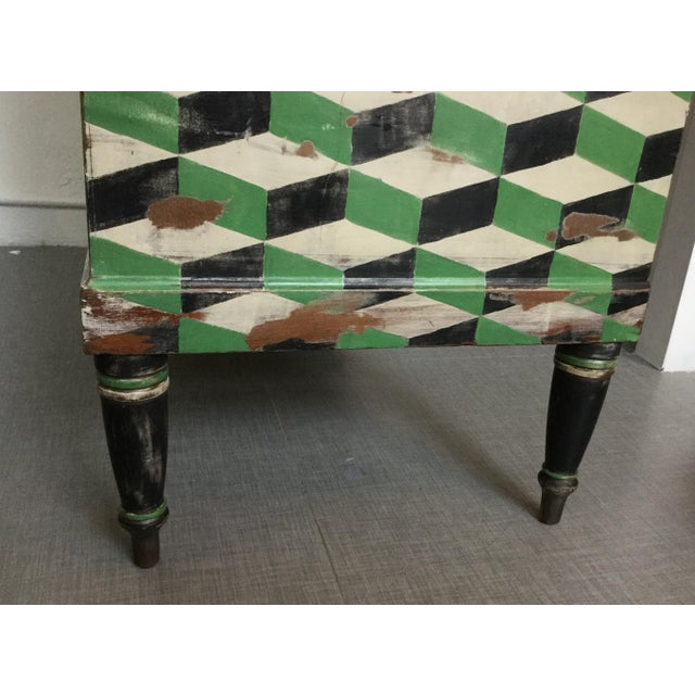 Geometric Hand Painted Antique Chest of Drawers - Image 4 of 10