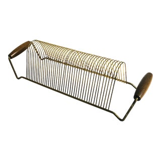 Mid Century Brass Table Top Record Rack With Wood Handles For Sale