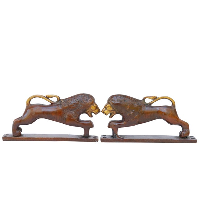 Early 21st Century Red Brass Lion Door Handles - a Pair For Sale - Image 5 of 5