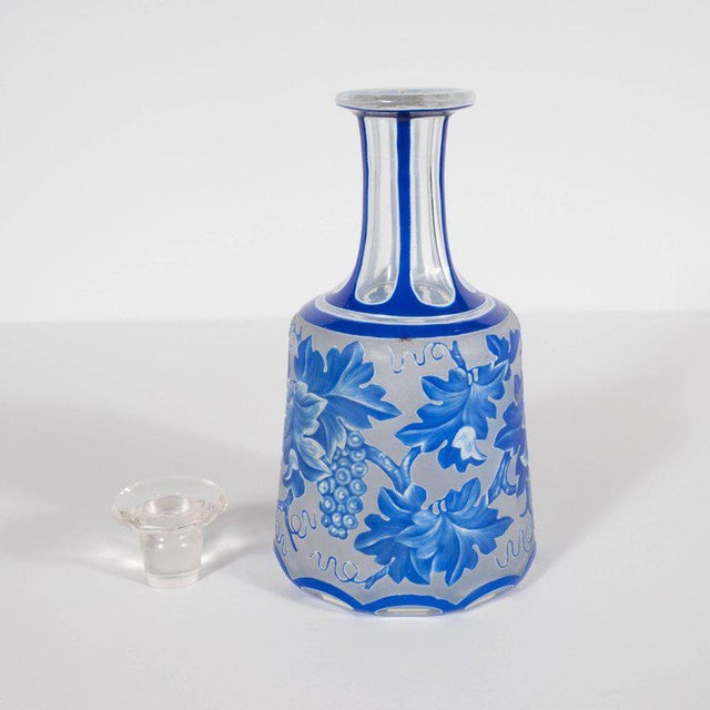 Art Deco French Art Deco Decanter in Ancient Blue with Grape Vine and Leaf Motif For Sale - Image 3 of 10