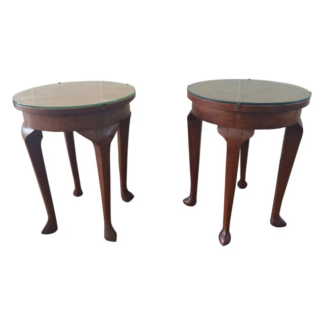 Vintage Inlaid Teak Accent Tables - A Pair - Image 1 of 7