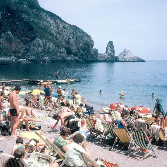 1960s Vintage 1960s England Beach Ansley's Cove Photograph Print For Sale - Image 5 of 5