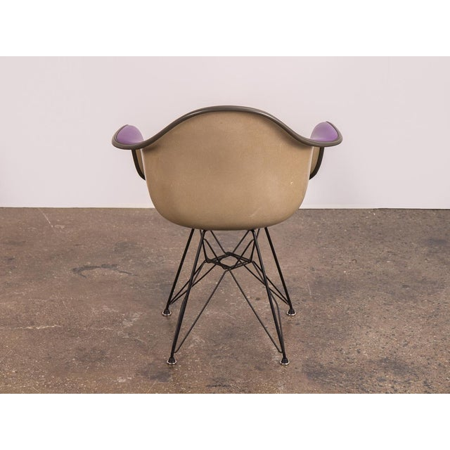 Charles and Ray Eames Purple Eames Padded Armshell Chair on Black Eiffel Base for Herman Miller For Sale - Image 4 of 9