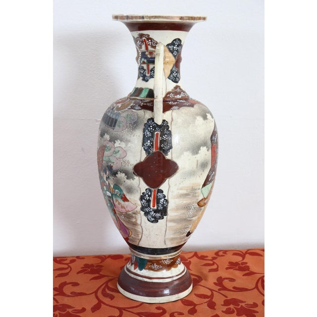 Brown 20th Century Japanese Vintage Artistic Satsuma Vase in Decorated Ceramic For Sale - Image 8 of 12