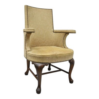 Vintage Mid Century Baker Furniture Queen Anne Style Arm Chair For Sale