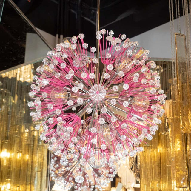 Midcentury Modern Glass, Chrome and Fuschia Enamel Chandelier by Rupert Nikoll For Sale - Image 10 of 12