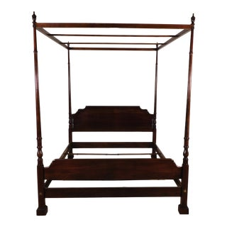 1970s Ethan Allen Queen Size Georgian Court Dark Cherry Poster Canopy Bed For Sale