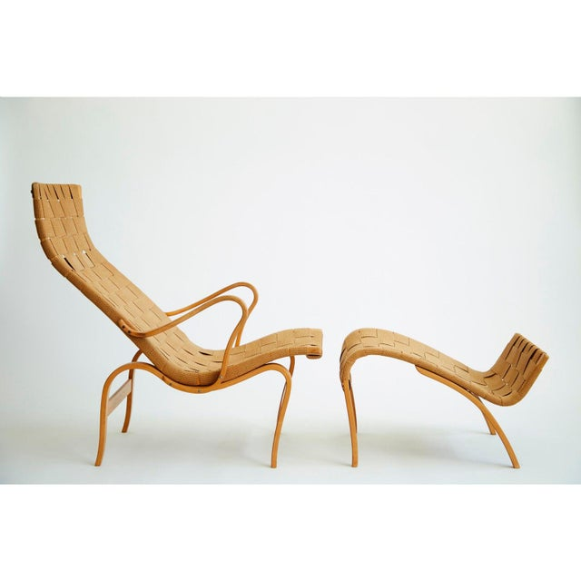 Mid-Century Modern 1940's Bruno Mathsson Pernilla Lounge Chair and Ottoman For Sale - Image 3 of 8