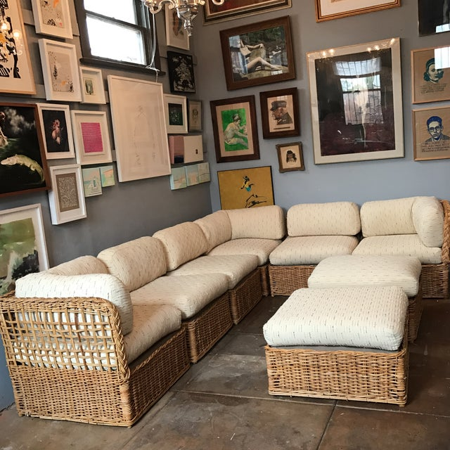 Decorate your family room with this awesome 8 pc modular rattan sofa set with zippered linen cushions. Set includes 3...