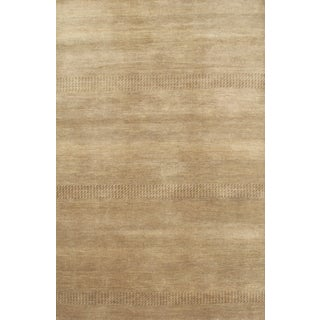 "Hand-Knotted Brown Modern Wool Rug - 6'1"" X 9'"