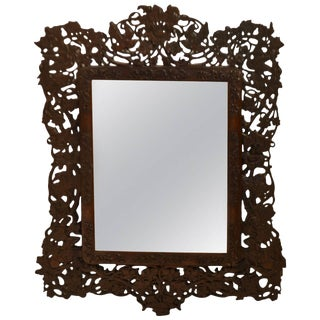 19th Century Mirror With Carved Wood Frame For Sale