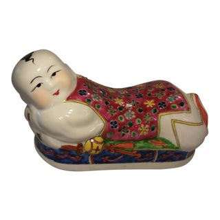 Vintage Chinese Mid Century Porcelain Red Boy Pillow Head Rest Figurine For Sale