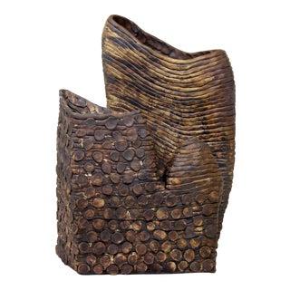 Sculptural Mid Century Modern Brutalist Studio Art Pottery Vase Signed For Sale