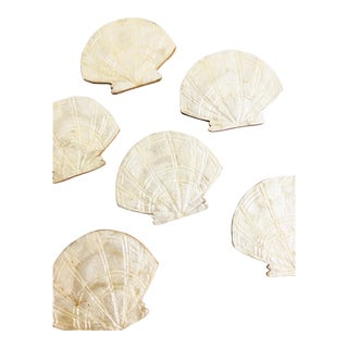 Vintage Capiz Shell Seashell Coasters - Set of 6 For Sale
