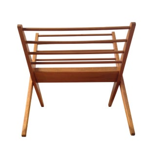 Mid-Century Wooden Magazine Rack For Sale