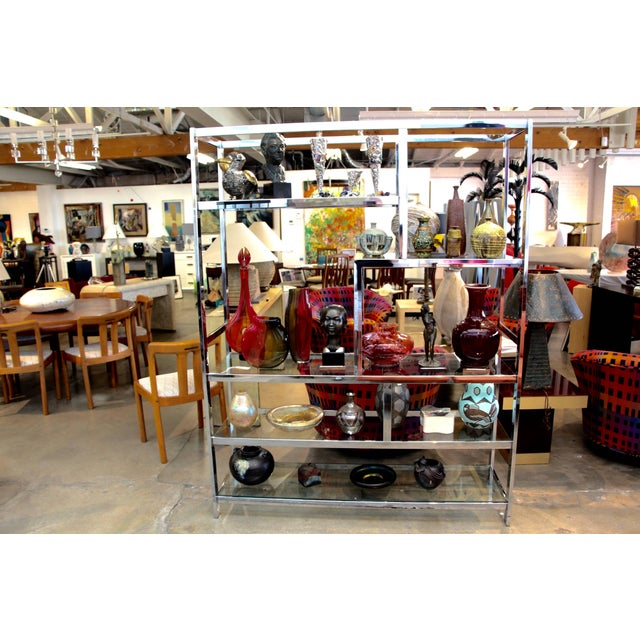 Mid 20th Century Milo Baughman Attributed Chrome and Glass Etagere For Sale - Image 5 of 6