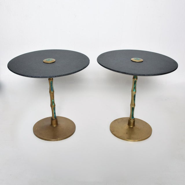 Pepe Mendoza Mid-Century Mexican Modernist Bronze Malachite Black Side Tables - a Pair For Sale - Image 11 of 11