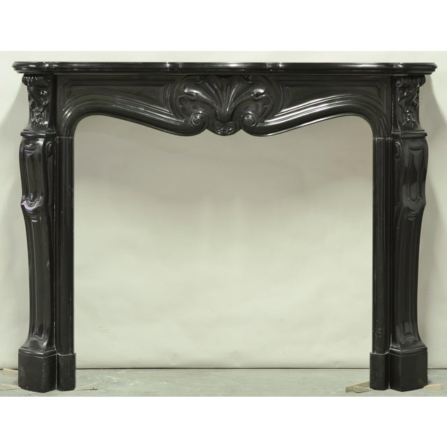 Black Black Marble Louis XV Fireplace Mantel, 19th Century For Sale - Image 8 of 8