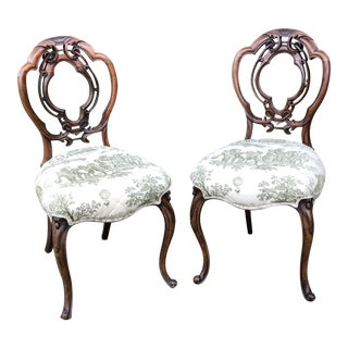 Antique Fruitwood Balloon Back Carved Chairs - A Pair