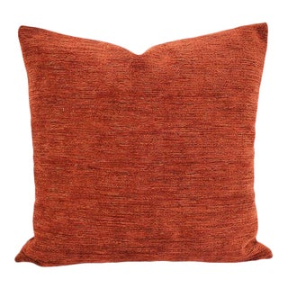 """Pindler Omega in Sienna Pillow Cover - 20"""" X 20"""" Solid Textured Chenille Cushion Cover For Sale"""