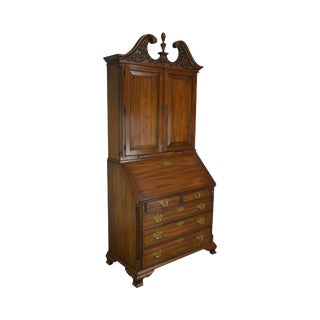 Henkel Harris Chippendale Style Carved Walnut Blind Door Secretary Desk For Sale