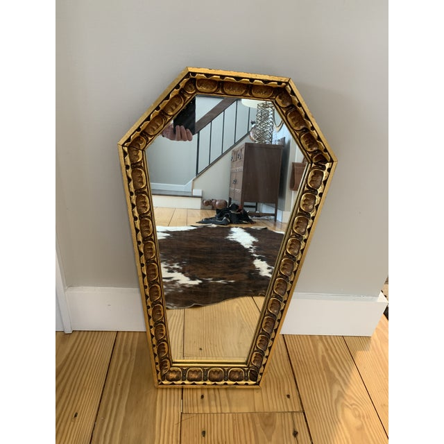 Gothic Wood Coffin Shaped Mirror For Sale In New York - Image 6 of 6