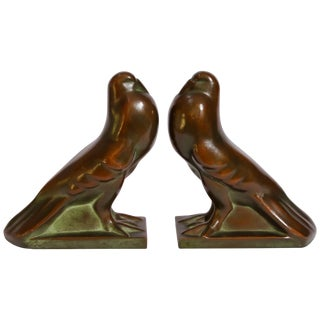 Art Deco Style Cast Bronze Birds Bookends For Sale