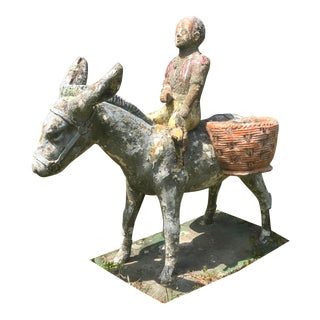 Antique Cast Stone Lawn Ornament- Child With Donkey For Sale