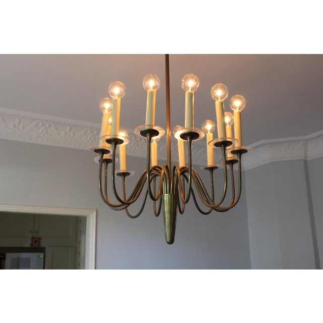 1960s Mid-Century Modern Brass & Lucite Chandelier For Sale - Image 4 of 8
