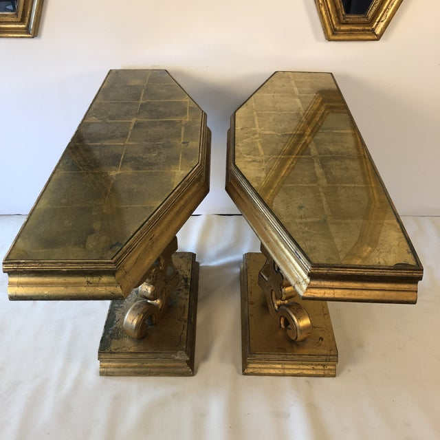 1950s 1950s Hollywood Regency Gold Console and Mirror For Sale - Image 5 of 13