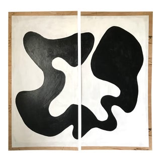 Animal Abstract Black & White Acrylic Diptych Painting