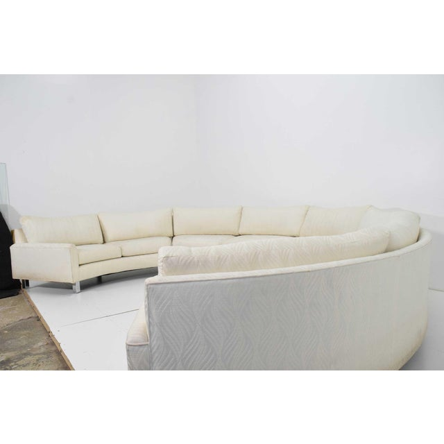 Chrome Large Milo Baughman White Upholstered Four Section Circular Sofa For Sale - Image 7 of 13