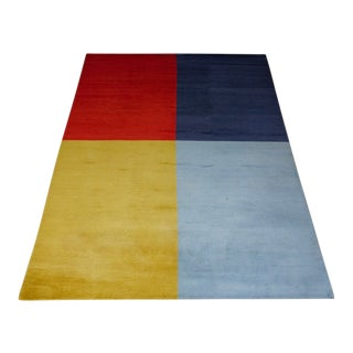 Tibetan Wool Four Color Quadrant Rug- 9' X 12' For Sale