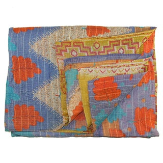 Vintage Blue & Orange Kantha Quilt For Sale