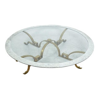 Arturo Pani Brass Round Cocktail Table For Sale