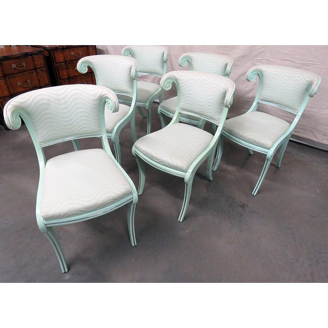 Set of 6 laquered Art Deco side chairs with chrome accents.