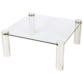 Italian Style Chrome Cylinder and Glass Square Coffee Table For Sale