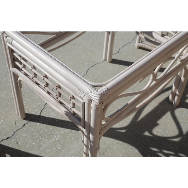 Off-white Vintage Rattan Club Chairs and Side Table - Set of 3 For Sale - Image 8 of 10