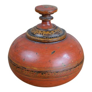 Antique Wooden Afghan Spice Box For Sale
