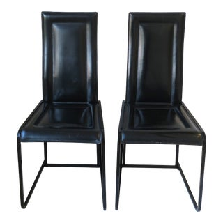 Postmodern Italian Black Leather Chairs 1970s, Italy, Pair For Sale