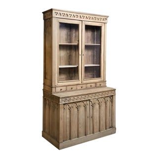 19th Century French Gothic Stripped Oak Bookcase For Sale