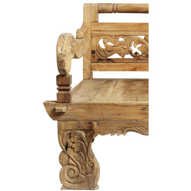 Teak Carved Arm Chair - Image 2 of 2