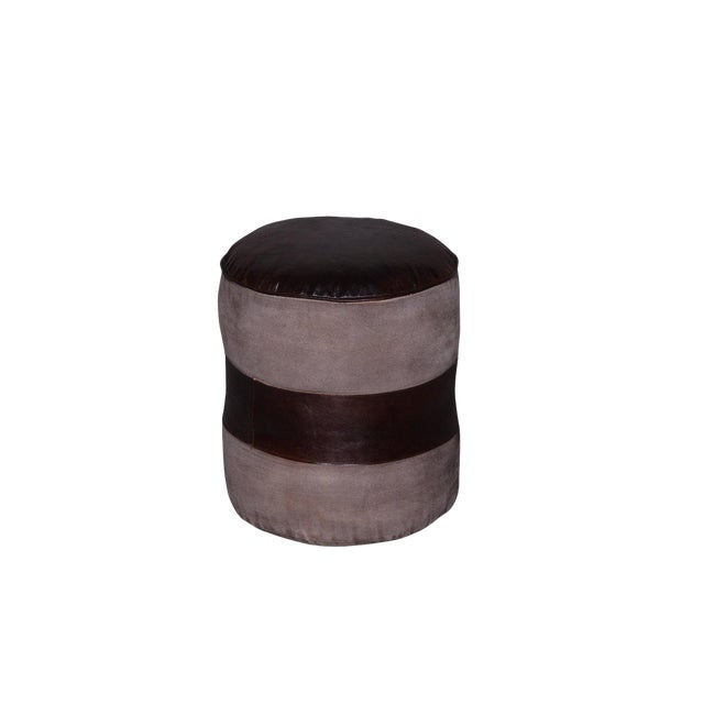 online retailer 4e33b ee295 Tristin Round Leather Pouf, Ottoman for Living Room, Comfortable Footrest,  Handcrafted Pouf- Brown