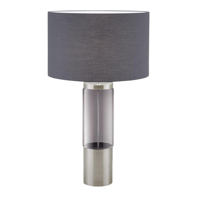 Iridescent Smoke Glass Tubular Shaped Lamp in Brushed Nickel and Shade For Sale