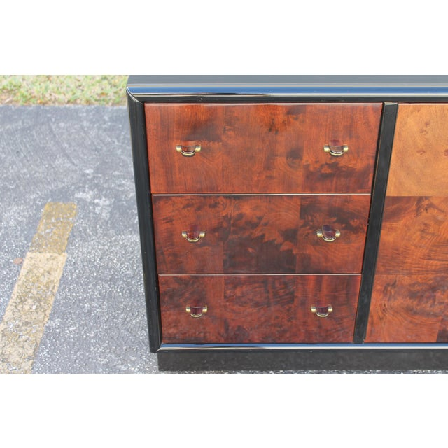 Art Deco Black Lacquer & Burlwood Buffet by Henredon For Sale - Image 5 of 11
