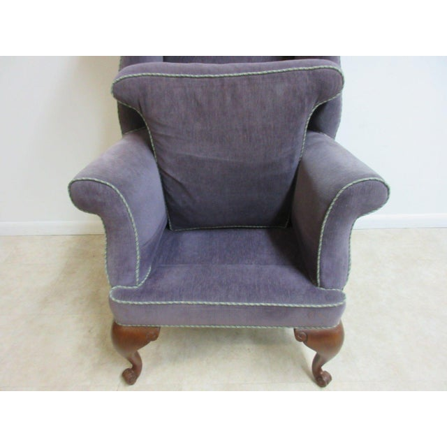 Vintage Purple Wingback Chair For Sale - Image 9 of 11