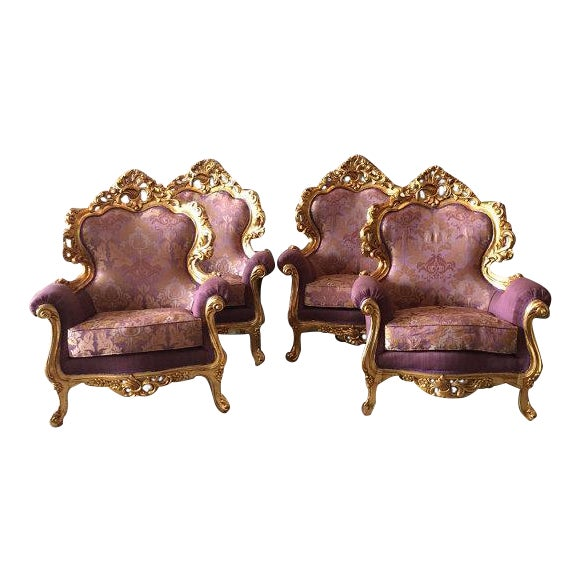 Italian Rococo Style Chairs - 4 For Sale